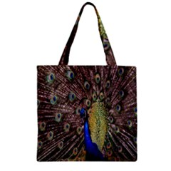 Multi Colored Peacock Zipper Grocery Tote Bag