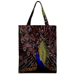 Multi Colored Peacock Zipper Classic Tote Bag