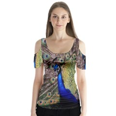 Multi Colored Peacock Butterfly Sleeve Cutout Tee
