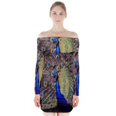 Multi Colored Peacock Long Sleeve Off Shoulder Dress