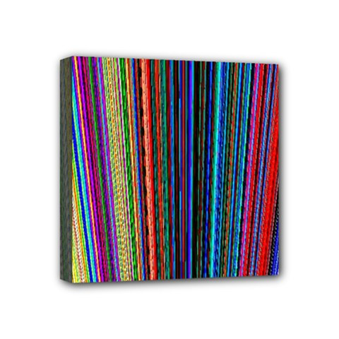 Multi Colored Lines Mini Canvas 4  x 4