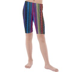 Multi Colored Lines Kids  Mid Length Swim Shorts