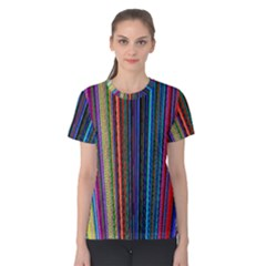 Multi Colored Lines Women s Cotton Tee