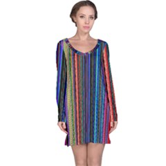 Multi Colored Lines Long Sleeve Nightdress