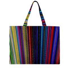 Multi Colored Lines Zipper Mini Tote Bag
