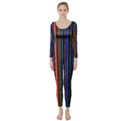 Multi Colored Lines Long Sleeve Catsuit