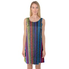 Multi Colored Lines Sleeveless Satin Nightdress