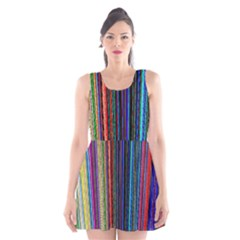 Multi Colored Lines Scoop Neck Skater Dress