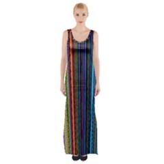 Multi Colored Lines Maxi Thigh Split Dress