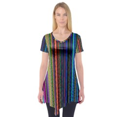 Multi Colored Lines Short Sleeve Tunic