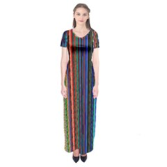 Multi Colored Lines Short Sleeve Maxi Dress