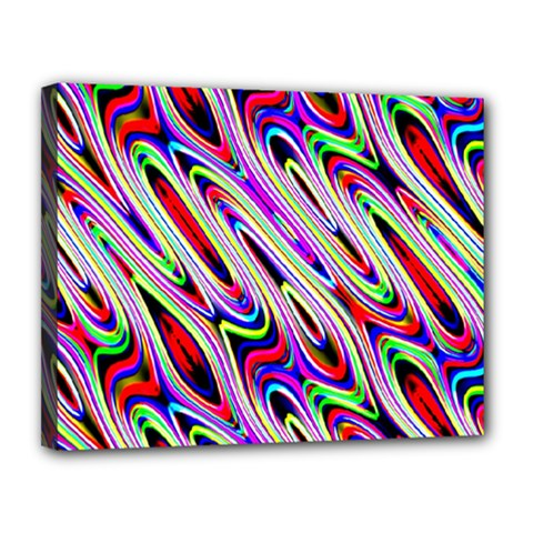 Multi Color Wave Abstract Pattern Canvas 14  x 11