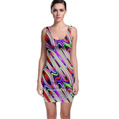 Multi Color Wave Abstract Pattern Sleeveless Bodycon Dress