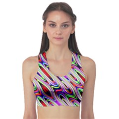 Multi Color Wave Abstract Pattern Sports Bra