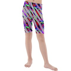 Multi Color Wave Abstract Pattern Kids  Mid Length Swim Shorts