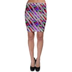 Multi Color Wave Abstract Pattern Bodycon Skirt