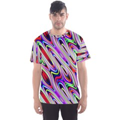 Multi Color Wave Abstract Pattern Men s Sport Mesh Tee