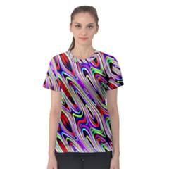 Multi Color Wave Abstract Pattern Women s Sport Mesh Tee