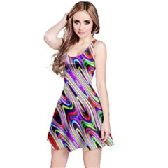 Multi Color Wave Abstract Pattern Reversible Sleeveless Dress