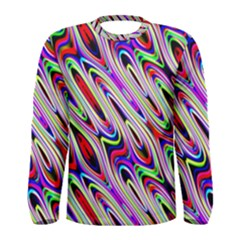 Multi Color Wave Abstract Pattern Men s Long Sleeve Tee