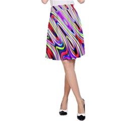 Multi Color Wave Abstract Pattern A-Line Skirt