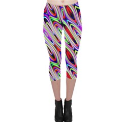 Multi Color Wave Abstract Pattern Capri Leggings
