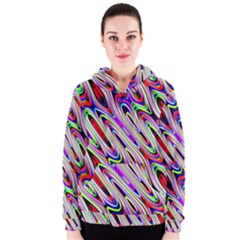 Multi Color Wave Abstract Pattern Women s Zipper Hoodie