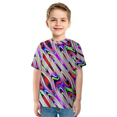 Multi Color Wave Abstract Pattern Kids  Sport Mesh Tee