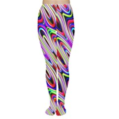 Multi Color Wave Abstract Pattern Women s Tights