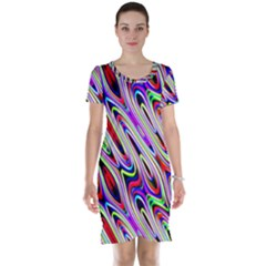 Multi Color Wave Abstract Pattern Short Sleeve Nightdress
