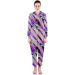 Multi Color Wave Abstract Pattern Hooded Jumpsuit (Ladies)