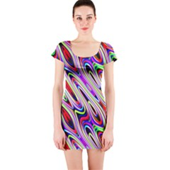 Multi Color Wave Abstract Pattern Short Sleeve Bodycon Dress