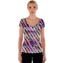 Multi Color Wave Abstract Pattern Women s V-Neck Cap Sleeve Top