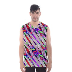 Multi Color Wave Abstract Pattern Men s Basketball Tank Top