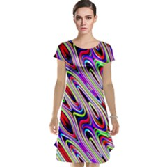 Multi Color Wave Abstract Pattern Cap Sleeve Nightdress