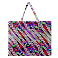 Multi Color Wave Abstract Pattern Zipper Large Tote Bag