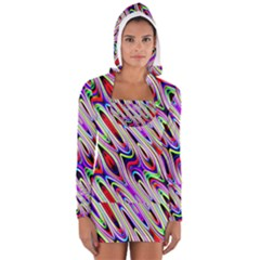 Multi Color Wave Abstract Pattern Women s Long Sleeve Hooded T-shirt