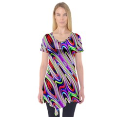 Multi Color Wave Abstract Pattern Short Sleeve Tunic