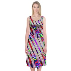 Multi Color Wave Abstract Pattern Midi Sleeveless Dress