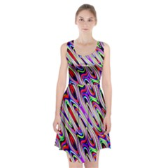 Multi Color Wave Abstract Pattern Racerback Midi Dress