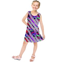 Multi Color Wave Abstract Pattern Kids  Tunic Dress