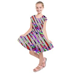 Multi Color Wave Abstract Pattern Kids  Short Sleeve Dress