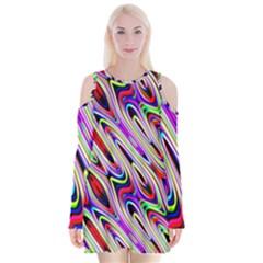 Multi Color Wave Abstract Pattern Velvet Long Sleeve Shoulder Cutout Dress