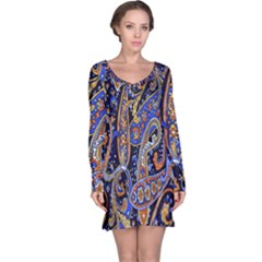Pattern Color Design Texture Long Sleeve Nightdress