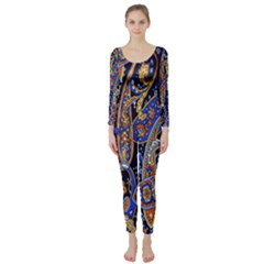 Pattern Color Design Texture Long Sleeve Catsuit