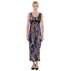 Pattern Color Design Texture Fitted Maxi Dress