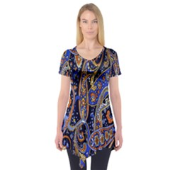 Pattern Color Design Texture Short Sleeve Tunic