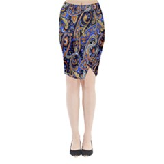 Pattern Color Design Texture Midi Wrap Pencil Skirt