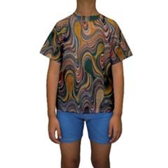 Swirl Colour Design Color Texture Kids  Short Sleeve Swimwear