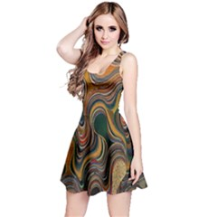 Swirl Colour Design Color Texture Reversible Sleeveless Dress